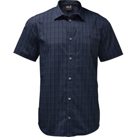 Jack Wolfskin Rays Stretch Vent Fietsshirt Korte Mouwen Heren, night blue checks